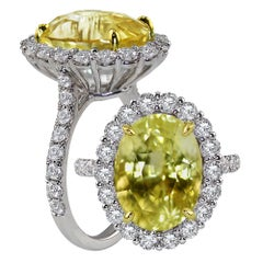 GRS Certified 10.07 Carat No Heat Yellow Sapphire Cocktail Ring