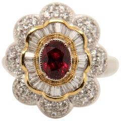 GRS Certified 1.02 Carat Burma Ruby Pigeon Blood Diamond 18 Karat Gold Ring