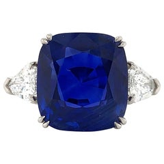 ISSAC NUSSBAUM NEW YORK GRS Certified 10.34 Carat Blue Sapphire Cushion Cut Ring