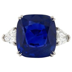 "GRS Certified 10.34 Carat ""Royal Blue"" Ceylon Sapphire Cushion Cut 3- Stone Ring"