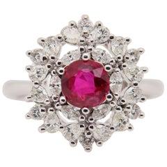 GRS Certified 1.08 Carat Burma Ruby Pigeon Blood Diamond Ring