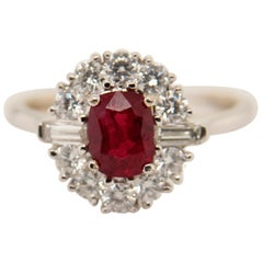 GRS Certified 1.10 Carat Burma Ruby Pigeon Blood Diamond 18 Karat Gold Ring
