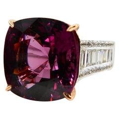 GRS Certified 11.07 Carat Spinel Diamond Ring, Pinkish Purple, Burma No Heat