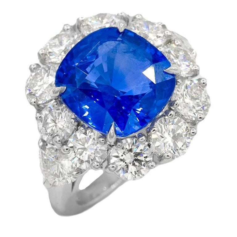"GRS Certified 11.11 Carat ""No Heat"" Ceylon Sapphire and Diamond Ring For Sale"