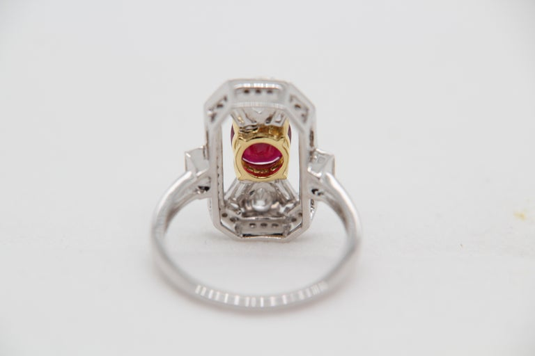 Cushion Cut GRS Certified 1.16 Carat Pigeon Blood No Heat Ruby and Diamond Ring For Sale