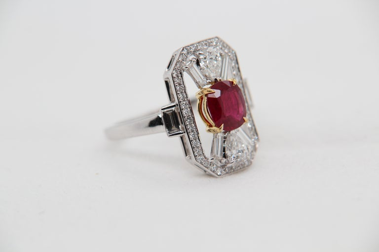Women's or Men's GRS Certified 1.16 Carat Pigeon Blood No Heat Ruby and Diamond Ring For Sale