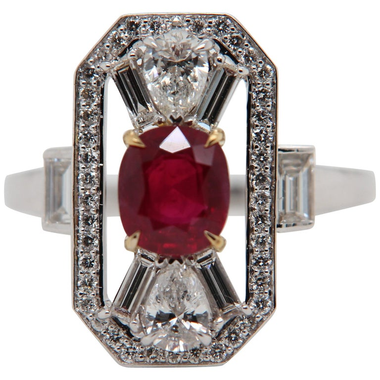 GRS Certified 1.16 Carat Pigeon Blood No Heat Ruby and Diamond Ring For Sale