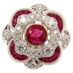 GRS Certified 1.19 Carat Burma Ruby and Diamond 18 Karat 5.92 Gram Gold Ring