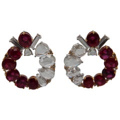 GRS Certified 11.99 Carat Burmese Unheated Ruby and Diamond Earring in 18k Gold