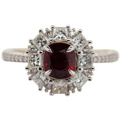 GRS Certified 1.29 Carat Burma Ruby Pigeon Blood Diamond 18 Karat Gold Ring