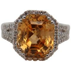 GRS Certified 12.95 Carat Sri Lankan Orangy, Yellow Sapphire and Diamond Ring