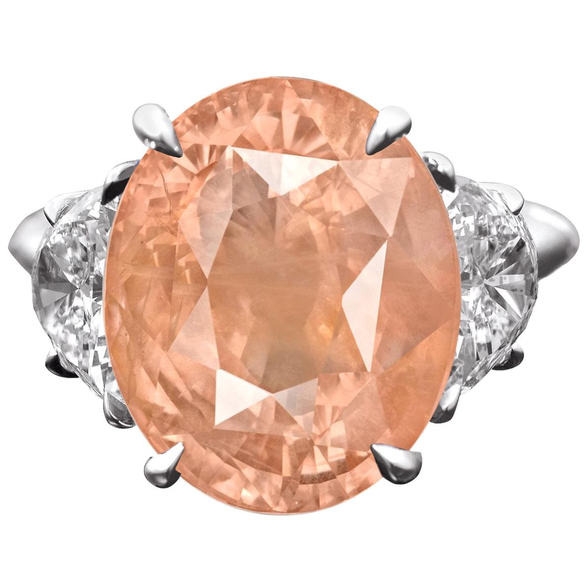 GRS Certified 13 Carat Natural Padparadscha No Heat Oval Sapphire