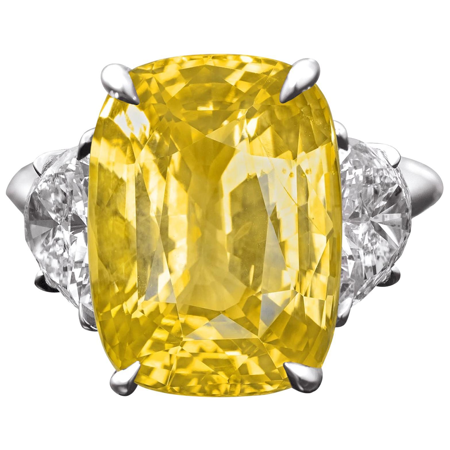 GRS Certified 13 Carat Natural No Heat Yellow Cushion Cut Sapphire Ring