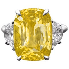 GRS Certified 13 Carat Natural No Heat Yellow Cushion Cut Sapphire Ring