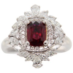 GRS Certified 1.34 Carat Burma Ruby Pigeon Blood Diamond 18 Karat Gold Ring