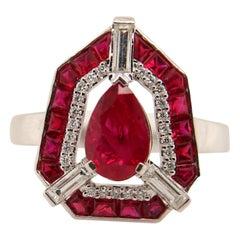GRS Certified 1.40 Carat Pigeon Blood Burmese Ruby & Diamond 18 Karat Gold Ring