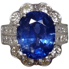 Grs Certified 14.72 Carat Natural Burma Blue Sapphire Diamond Ring 18 Carat