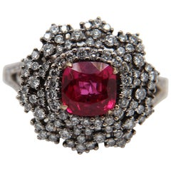 GRS Certified 1.52 Burmese No Heat Ruby and Diamond Cocktail Ring