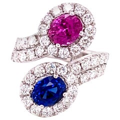 GRS Certified 1.59 Carat Blue Sapphire and 1.54 Carat Pink Sapphire Diamond Ring