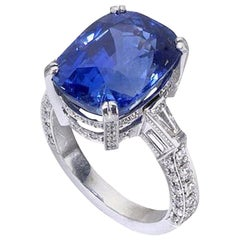 GRS Certified 16.33 Carat Sapphire Diamond Cocktail Ring