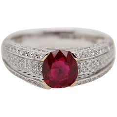 GRS Certified 1.69 Carat Pigeon Blood Ruby and Diamond Ring