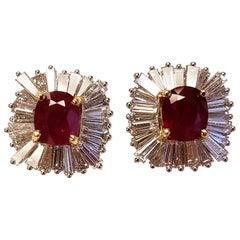 GRS Certified 18 Karat White Gold Cushion Cut Burmese Ruby and Diamond Earring