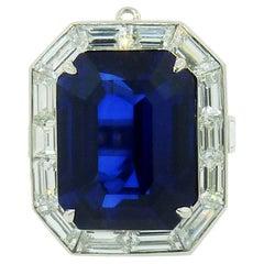 GRS Certified 20.12 Carat Royal Blue Sapphire Diamond Ring-Pendant
