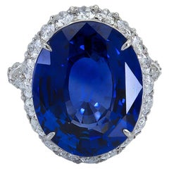 GRS Certified 20.13 Carat No Heat Blue Sapphire and Diamond Cocktail Ring