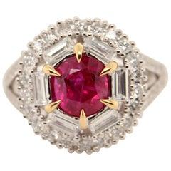 GRS Certified 2.02 Carat Burma Ruby and Diamond 18 Karat Gold Ring