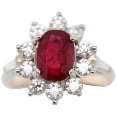 GRS Certified 2.02 Carat Burma Ruby Pigeon Blood Diamond 18 Karat Gold Ring