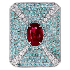 GRS Certified 2.02 Carat Pigeon Blood Color Ruby&Brazilian Paraiba Designer Ring