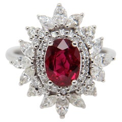GRS Certified 2.04 Carat Pigeon Blood No Heat Burmese Ruby And Diamond Ring