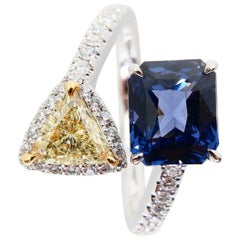 GRS Certified 2.05 Carat Spinel No Heat & Trillion Yellow Diamond Cocktail Ring
