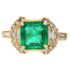 GRS Certified, 2.09 Carat Natural Colombian Emerald Set in 18k Solid Gold Ring