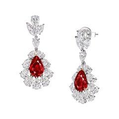 GRS Certified 22.2 Carat Burmese Pigeons Blood Ruby Earrings in 18K Gold