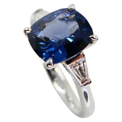 GRS Certified 2.23 Cts Cobalt Blue Spinel & Diamond Cocktail Ring, 18 Karat Gold