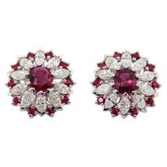 GRS Certified 2.26 Carat Thai Ruby and Diamond 18 Karat Gold Earring