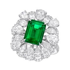 GRS Certified 2.48 Carat Colombia Emerald Ring 'Muzo' 'Vivid Green'