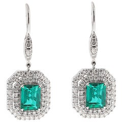 GRS Certified 2.48 Carat No Oil Columbian Emerald and Diamond Earrings
