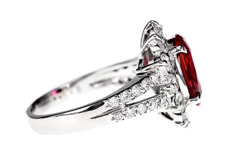 Art Nouveau GRS Certified 2.51 Carat Red Mozambique Ruby and 1.28 Carat Diamond in Platinum For Sale