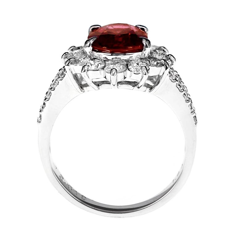 GRS Certified 2.51 Carat Red Mozambique Ruby and 1.28 Carat Diamond in Platinum In New Condition For Sale In Hung Hom, HK