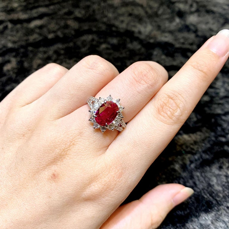 Women's or Men's GRS Certified 2.51 Carat Red Mozambique Ruby and 1.28 Carat Diamond in Platinum For Sale