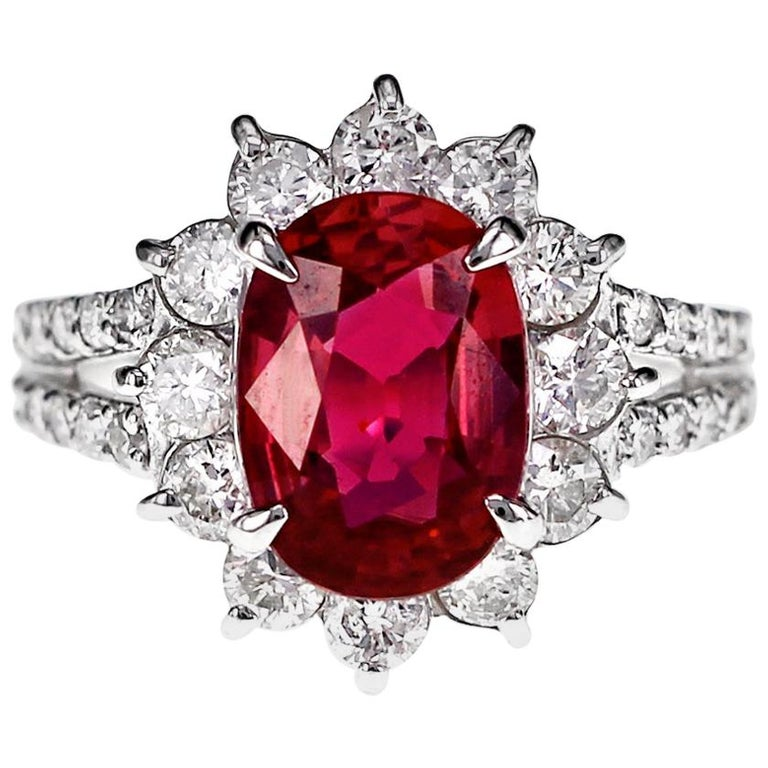 GRS Certified 2.51 Carat Red Mozambique Ruby and 1.28 Carat Diamond in Platinum For Sale
