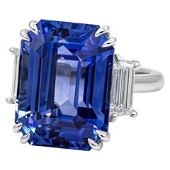 Roman Malakov Emerald Cut Blue Sapphire Diamond Three-Stone Ring GRS Certified