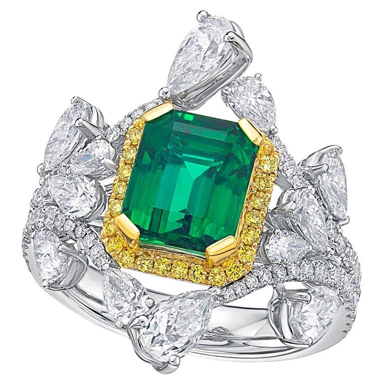 Grs Certified 2 79 Carat Zambia Emerald Diamond Ring For