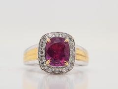 GRS Certified 2.98 Carat Burmese No Heat Ruby And Diamond Ring