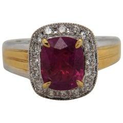 GRS Certified 2.98 Carat Burmese No Heat Ruby And Diamond Ring