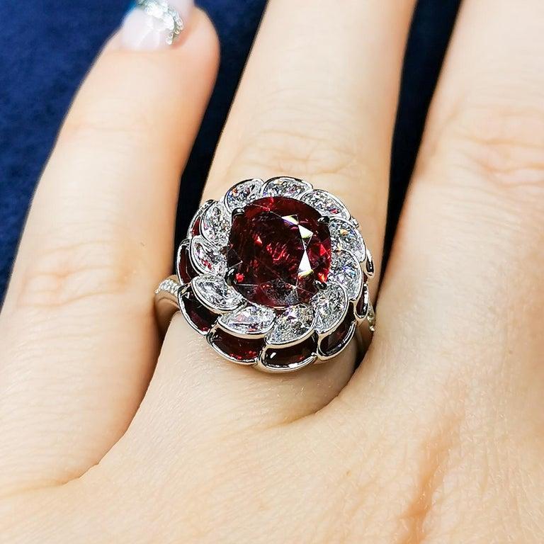 GRS Certified 2.98 Carat Ruby Diamond 18 Karat White Gold Ring For Sale 4