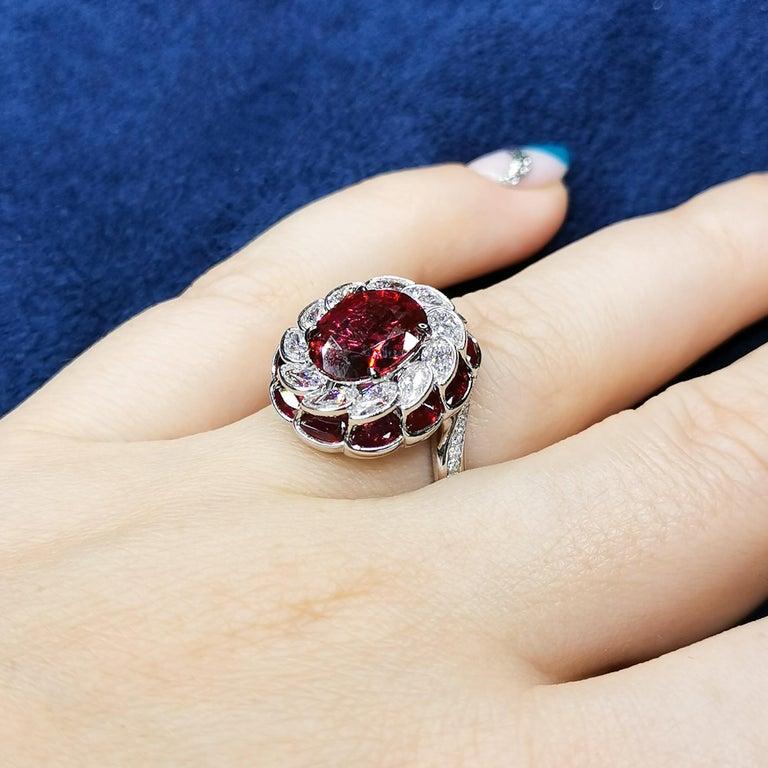 GRS Certified 2.98 Carat Ruby Diamond 18 Karat White Gold Ring For Sale 5