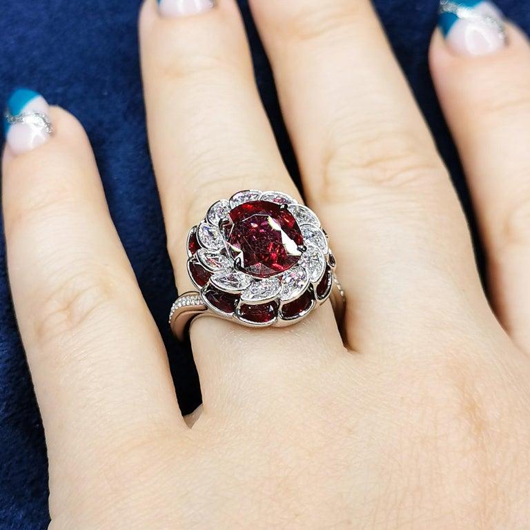 GRS Certified 2.98 Carat Ruby Diamond 18 Karat White Gold Ring For Sale 6
